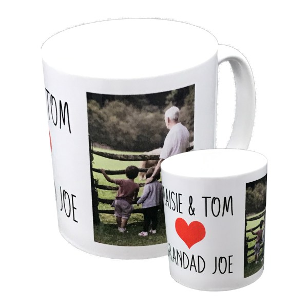 personalised standard white mug printed with a photo and names with red love heart