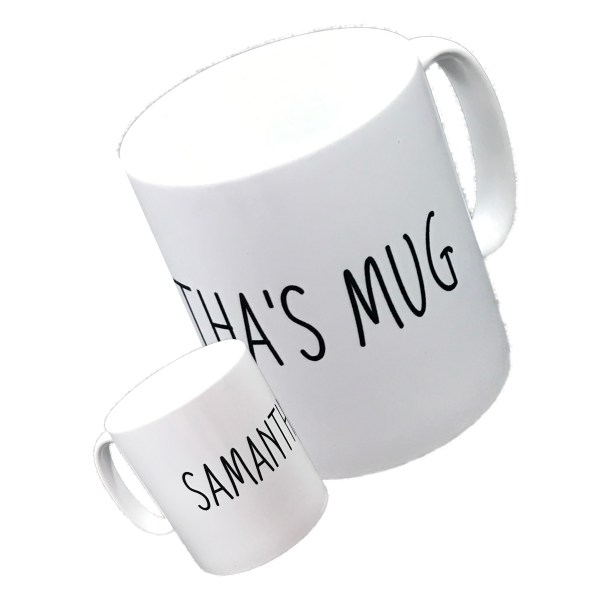 personalised standard white mug printed with a name