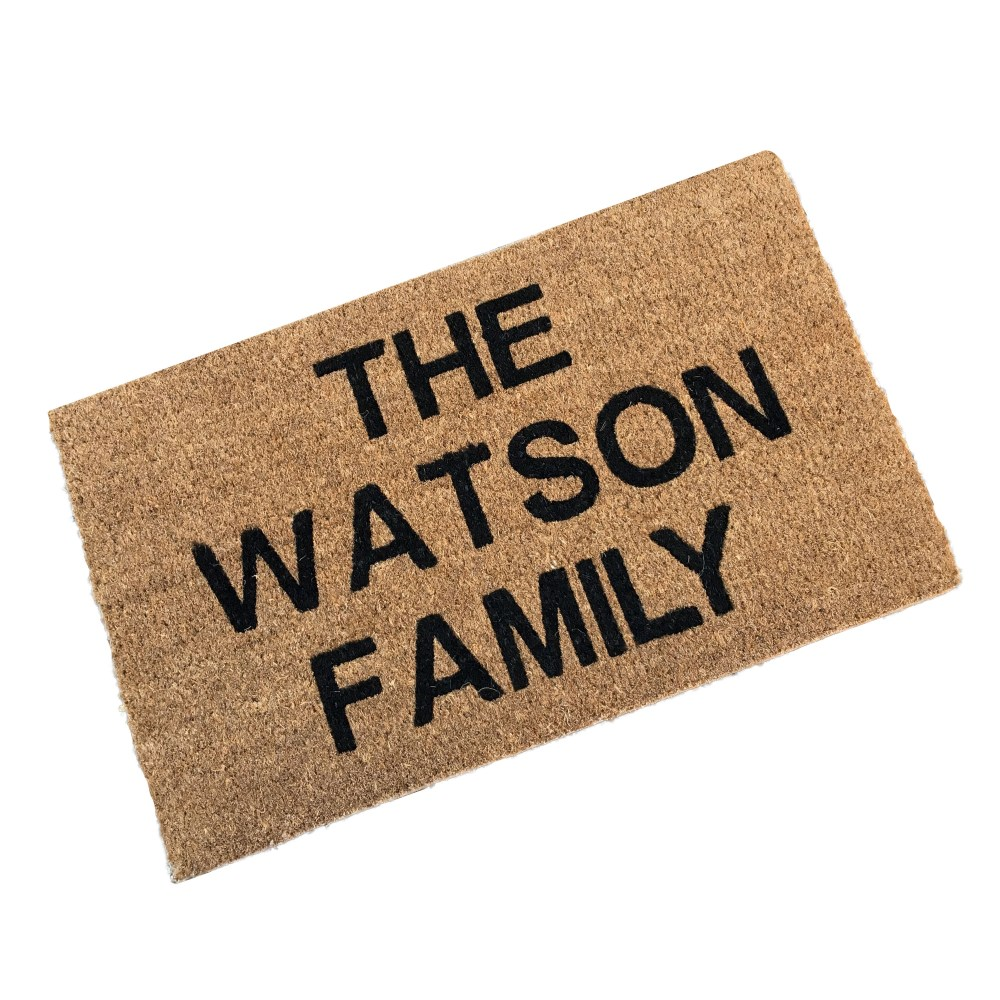 coir doormat personalised with family surname