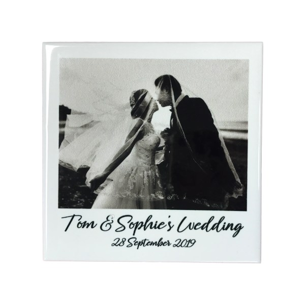 personalised ceramic tile with wedding photo and text