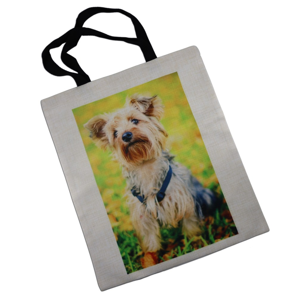 personalised linen tote bag