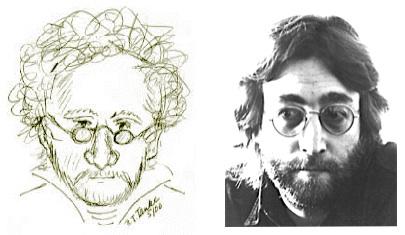 Sketch by B.J. Tanke (L), John Lennon (R)
