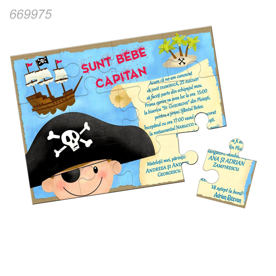 Invitatie Botez Tematica Pirati
