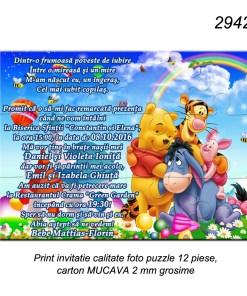 Invitatii Botez Puzzle Cartonat