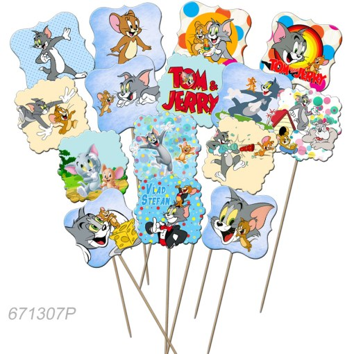 Set de props-uri pentru Candy Bar, tematica Tom si Jerry, 15 buc/set