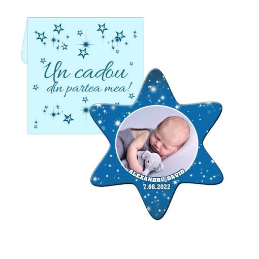 Marturii botez forma stea, plic inclus, culoare albastra