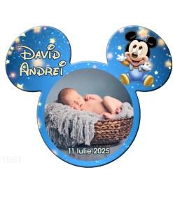 Marturie botez baby Mickey Mouse magnet cu plic nunata crem
