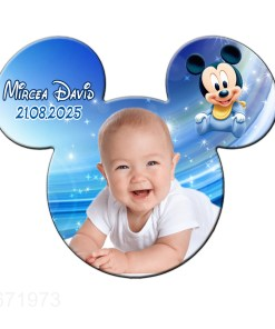 Magnet Mickey marturie botez, model fundal albastru