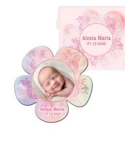 Marturie botez magnet floare cu plic, culoare roz