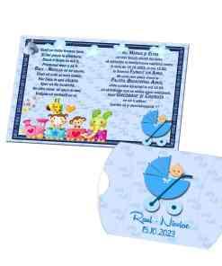 Invitatie puzzle botez, trenulet si carucior bebe, nuanta bleu-albastru