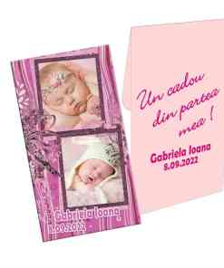 Marturie botez, personalizare cu doua fotografii, plic roz