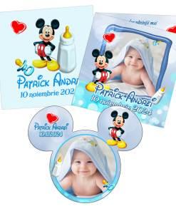 Invitatii botez model Mickey Mouse, 2 in 1 invitatie plus marturie magnet forma Mickey