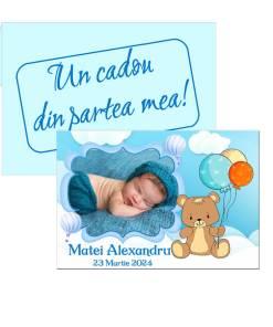 Marturii botez tematica ursulet cu baloane, plic bleu inclus