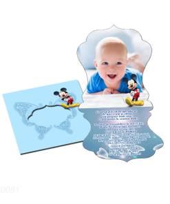 Invitatii botez personalizate cu fotografie, forma vintage, tematica Mickey, culoare bleu
