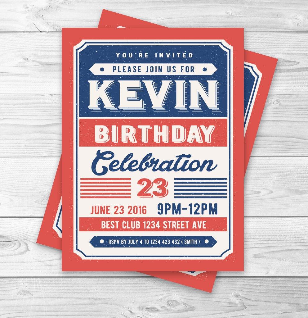 classic retro birthday party invitations