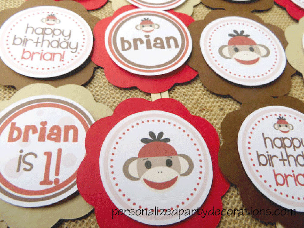 Sock Monkey Birthday Cupcake Toppers