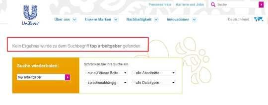 Hinweise oder Infos, dass und warum Unilever Top-Arbeitgeber ist fehlen auf der Website vollständig