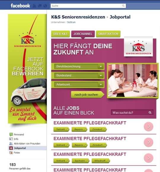 Das Herzstück der K & S Karriere-Page - das Jobportal