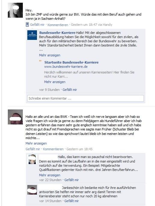 dialog auf der bundeswehr karriere fanpage - Bundeswehr Freiwilliger Wehrdienst Bewerbung