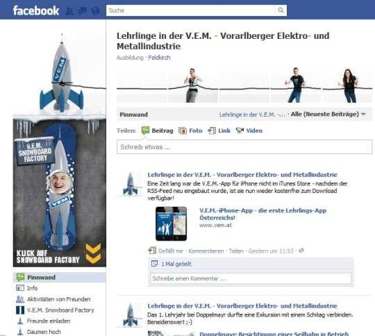 Facebook-Seite der V.E.M