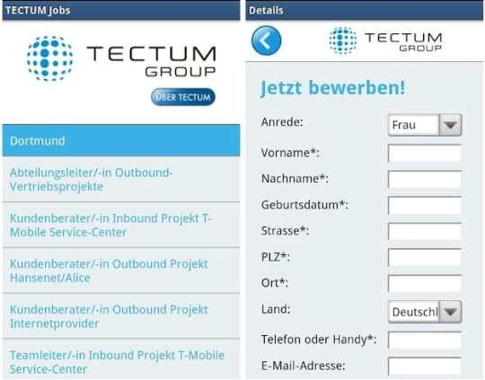Tectum Jobs - nach einer endlosen Scrollarie ist eine Online-Bewerbung direkt aus dem Formular möglich