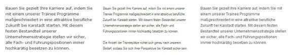 Schriftarten im Vergleich - Verdana, Arial Narrow, Arial - alle 12 Pt - Schrift fällt auf Karstadt Karriere viel zu gering aus