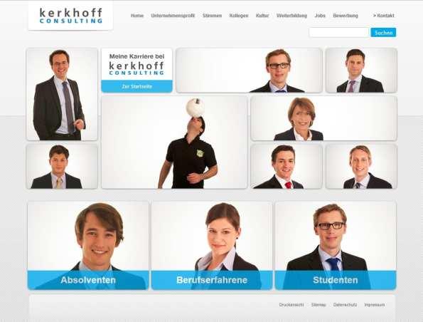 Startseite Karriere-Website - Kerkhoff Consulting - jede Menge Mitarbeiter - Zielgruppenführung