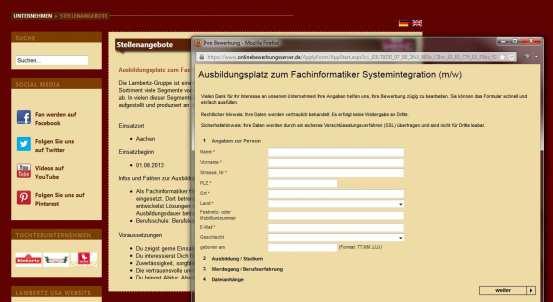 Bei Lambertz ist sogar eine Online-Bewerbung möglich