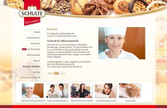 Schulte Feingebäck aus Rietberg mit eigener Karriere-Website