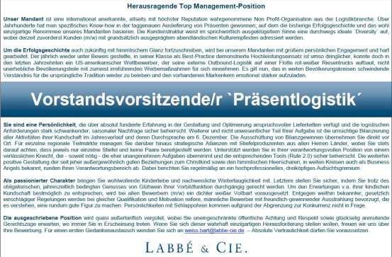 Labbé Cie suchen mit Stellenanzeige Vorstandsvorsitzenden Präsentlogistik - Quelle Labbe Cie