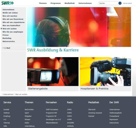 Karriere-Website des SWR - klar strukturiert, wenig informativ