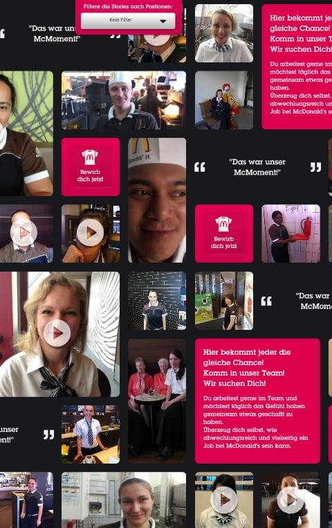WTF- die mobile Ansicht der McMoments Karriereseite