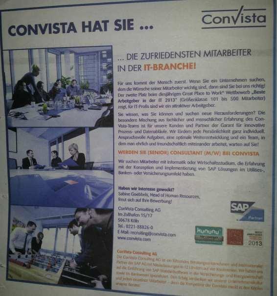 Great Place to Work - Deutschlands bester Arbeitgeber - Convista Imageanzeige mit kununu-Logo
