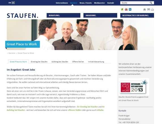 Great Place to Work - Deutschlands bester Arbeitgeber - Karriere-Website von Staufen ohne weiterführende Infos