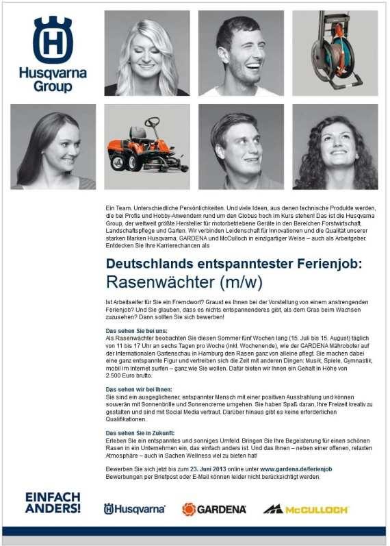 Deutschlands entspanntester Ferienjob - Husqvarna Group sucht mit Stellenanzeige Rasenwächter