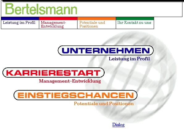 Personalmarketing anno 1997 - Screenshot Bertelsmann Karrierewebsite