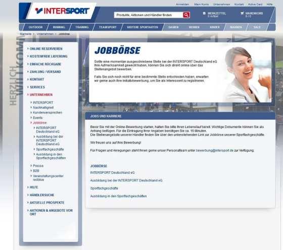 Intersport Jobbörse - wo Jobbörse drauf steht, sollte auch Jobbörse drin sein