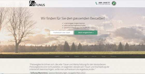 funus.de erlaubt Preis- und Leistungsvergleiche und Bewertung von Bestattern
