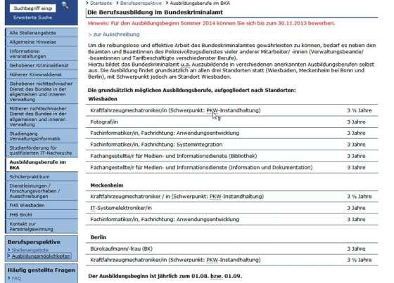 Ausbildung beim BKA ist möglich, Infos gibts keine