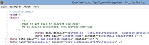 Bewerbungsaufforderung im Quellcode der trivago-Website