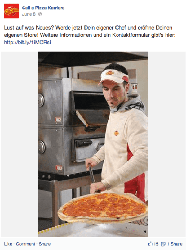 Goldene Runkelrübe 2014 Gewiner in der Kategorie Social Media : Call a Pizza