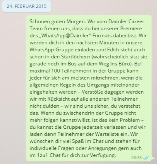 Daimler WhatsApp im Personalmarketing_Netiquette-Nachricht-vor-Gruppeneinladung