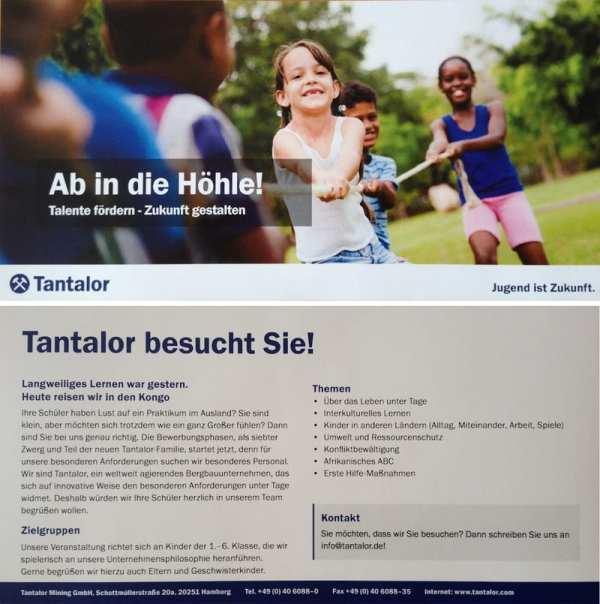 Tantalor - Dieser Flyer wird an Schulen verschickt