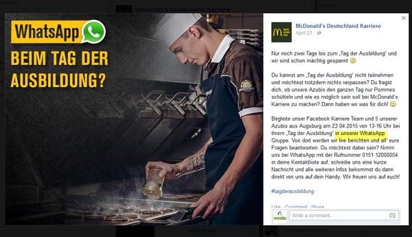 Whatsapp beim Tag der Ausbildung von McDonalds