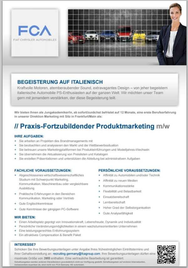 Stellenangebot Praxis-Fortzubildender Produktmarketing