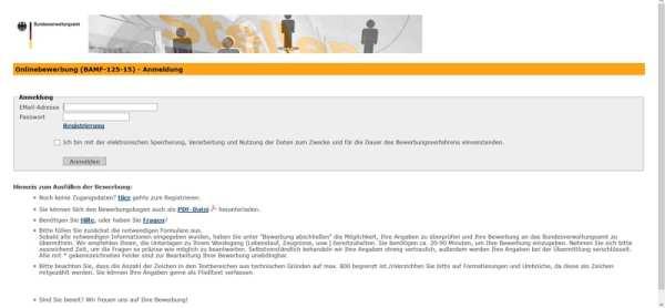 Online-Bewerbungsmaske BAMF