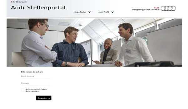 Audi Stellenportal - Zugang nur mit Anmeldung
