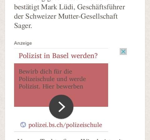 Polizist in Basel werden - Google Anzeige im WK