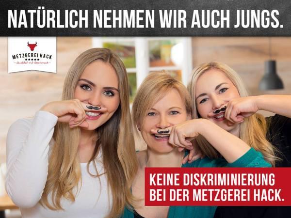 Gleichberechtigung - peinliche Personalwerbung bei der Fleischerei Hack aus Freising