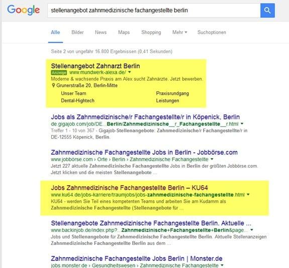 Generische und Adwords-Suchergebnisse bei Google
